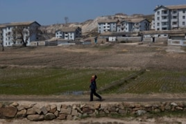 A North Korean boy walks along a path in front of a village on a road south of Kaesong, North Korea, April 24, 2013.