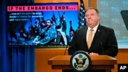 Ngoại trưởng Mike Pompeo họp báo tại Bộ Ngoại giao ở Washington D.C., ngày 24/6/2020.
