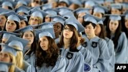 Wisuda di Barnard College, New York, di akhir semester musim semi lalu.