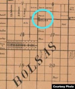 Chi tiết trong bản đồ treo tường Quận Cam năm 1889 do công ty S.H. Finley (San Francisco) xuất bản ghi tên đường Bolsa. Nguồn: Library of Congress, Thư viện Quốc hội Hoa Kỳ.