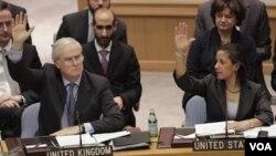 El embajador de Inglaterra ante Naciones Unidas, Mark Lyall Grant y la embajadora estadouniense, Susan Rice, durante el voto del Consejo de Seguridad.