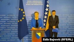 Bosnia and Herzegovina - EU Commissioner for Internal Affairs Ylva Johansson after a meeting with BiH Council of Ministers Chairman Zoran Tegeltija. Sarajevo, February 19, 2021