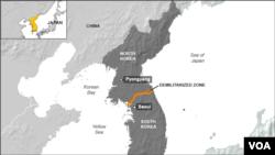 Peta wilayah Korea Utara dan Korea Selatan (Foto: dok).