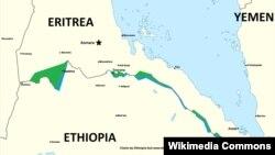 Ramani inayoonyesha mpaka wa ethiopia na Eritrea