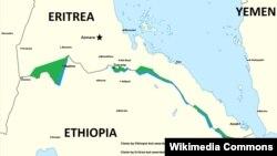 Muuqaal muujinaya goobihii ay horey ugu dagaalameen Ethiopia and Eritrea ee xuduudda