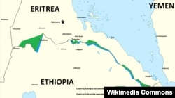 A map delineates past areas of conflict between Ethiopia and Eritrea.