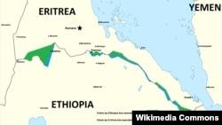 Bản đồ phác họa khu vực các cuộc xung đột giữa Ethiopia và Eritrea.