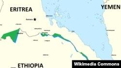 Ramani inayoonesha Eritrea na nchi zilizo jirani yake.