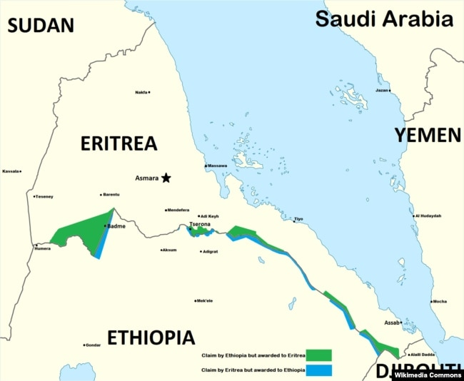 Eritrea says more than 200 ethiopians killed in border clash a map delineates past areas of conflict between ethiopia and eritrea gumiabroncs Gallery
