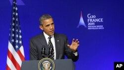 美國總統奧巴馬11月4日在法國康城記者會上發言