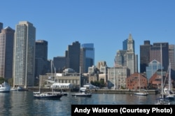 National parks traveler Mikah Meyer took a ferry to one of 34 islands in Boston Harbor, which offered a great view of the city skyline.