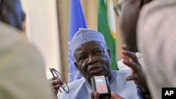 Ibrahim Gambari, the civilian head of the joint U.N/African Union mission UNAMID, speaks during a news conference in Khartoum, September 14, 2011.
