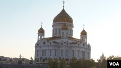 莫斯科的東正教基督救世主大教堂。(美國之音白樺拍攝)
