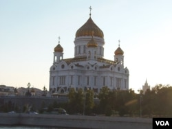 莫斯科的东正教基督救世主大教堂。(美国之音白桦拍摄)