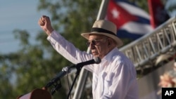 Cuba's Vice President Jose Ramon Machado Ventura delivers his speech during an event marking Revolution Day in Sancti Spiritus, Cuba, July 26, 2016.
