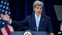 ລັດຖະມົນຕີສະຫະລັດ ທ່ານ John Kerry ກ່າວຄຳປາໄສທີ່ ກະຊວງການຕ່າງປະເທດ, 28 ທັນວາ, 2016.