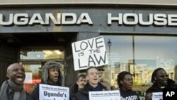 Gay rights demonstrators take part in a protest outside the Uganda High Commission in London (file photo)