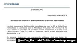 La déclartion de Moïse Katumbi, @mosie_katumbi (Twitter)