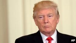 Presiden AS Donald Trump dalam sebuah acara di Gedung Putih, Jumat (12/5).