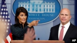 U.S. Ambassador to the United Nations Nikki Haley and national security adviser H.R. McMaster speak to reporters at the White House, in Washington, Sept. 15, 2017.