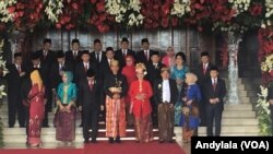 Presiden Joko Widodo dan Wakil Presiden Jusuf Kalla bersama pimpinan DPR, MPR dan DPD sebelum Sidang Tahunan MPR 2017