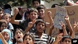 터키-시리아 국경 지대의 시리아 피난민 아이들