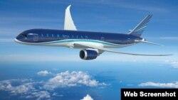 """""""Boeing 787-8"""" Dreamliner (Foto AZAL-ın rəsmi saytından götürülüb )"""