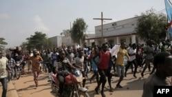 Bamwe mu bari mu myiyerekano muri DRC