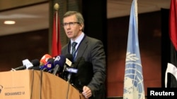 U.N. Special Representative Bernardino Leon speaks during a news conference at the Palais des Congres of Skhirat, south of Rabat, March 5, 2015.