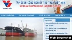 Trang web trước đây của Vinashin.