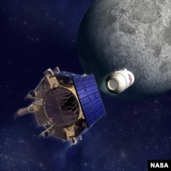 This artist's rendering depicts the LCROSS spacecraft and Centaur separation. (Credit: NASA)