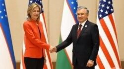 Prezident Mirziyoyev Prezident Baydenning Ichki xavfsizlik bo'yicha maslahatchisi Elizabet Shervud-Rendall bilan, Toshkent, 16-iyul, 2021