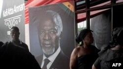 Un portrait de Kofi Annan à l'entrée du Centre international de conférences, le 11 septembre 2018.