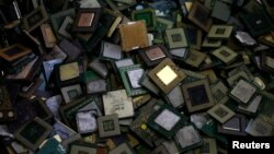CPU chips are seen at a recycling facility. President Donald Trump blocked the sale of computer chip maker Lattice Semiconductor Corp. to a Chinese company, calling it a threat to national security.
