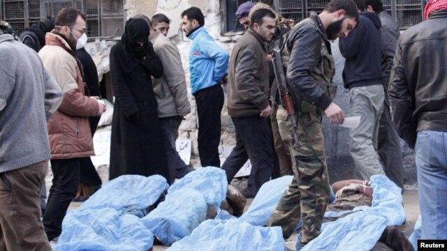 29일 시리아 알레포 쿠웨이크강에서 발견된 시신.