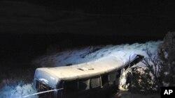 Sebuah kecelakaan bus di Utah, AS, 1 Januari 2018. (Foto: Utah Department of Public Safety via AP)