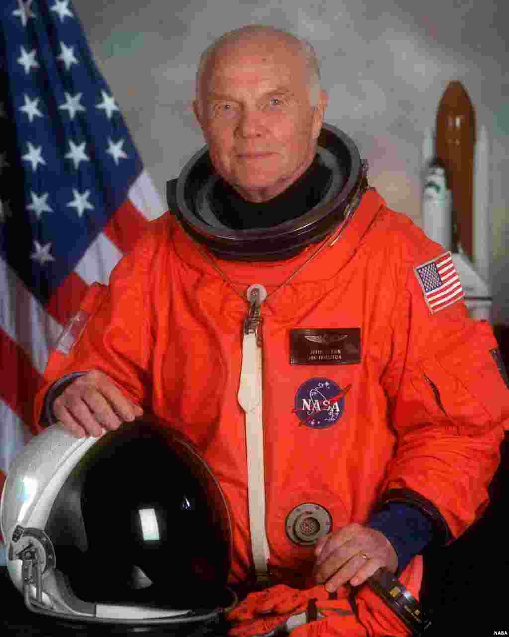 FILE - John Glenn in flight suit