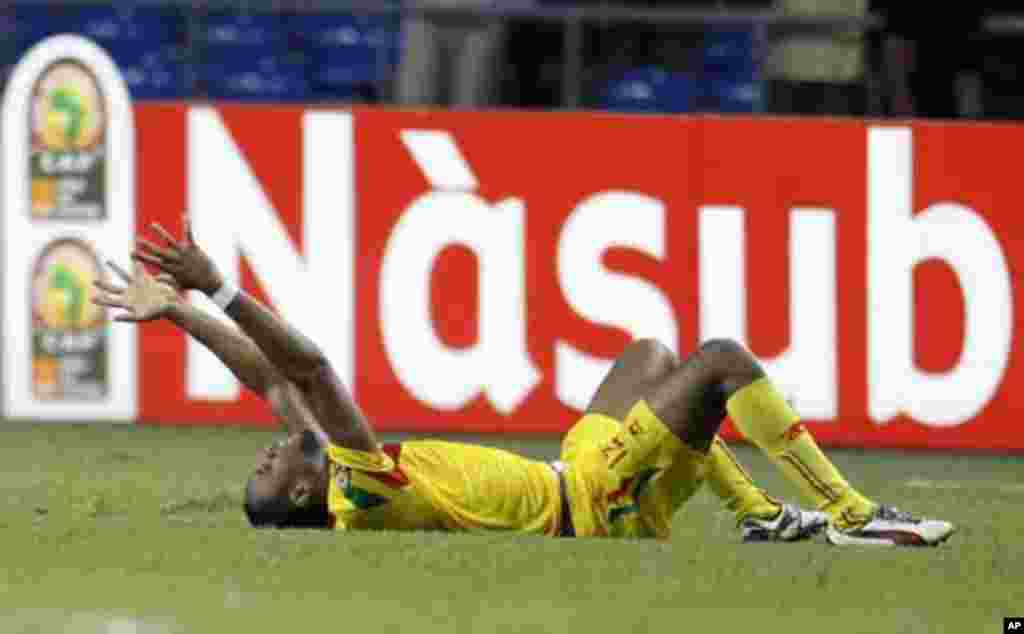 Mali's Seydou Keita reacts after their victory in their final African Cup of Nations Group D soccer match against Botswana at the Stade De L'Amitie Stadium in Libreville February 1, 2012.
