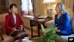 昂山素姬9月18日與美國國務卿克林頓華盛頓會晤。