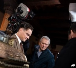 "Clint Eastwood right, and Leonardo DiCaprio on the set of ""J. Edgar"""