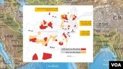 نقشه لانگ وار ژورنال: بیشتر از ۳۰ ولسوالی در تصرف طالبان است