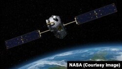 An artist rendition of the Orbiting Carbon Observatory, or OCO-2, that will help track where carbon dioxide is emitted and where it is taken up.