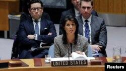نیکی هیلی نماینده ایالات متحده در سازمان ملل متحد در نشست شورای امنیت - آرشیو