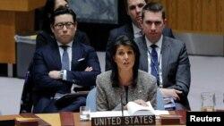 니키 헤일리 유엔주재 미국대사가 29일 뉴욕 유엔본부에서 열린 안보리 긴급회의에서 발언하고 있다.