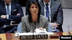 Đại sứ Mỹ tại Liên Hiệp Quốc Nikki Haley phát biểu tai cuộc họp của Hội đồng Bảo an hôm 29/11.