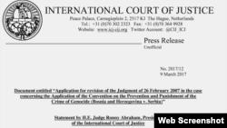 Izjava predsjednika Međunarodnog suda pravde