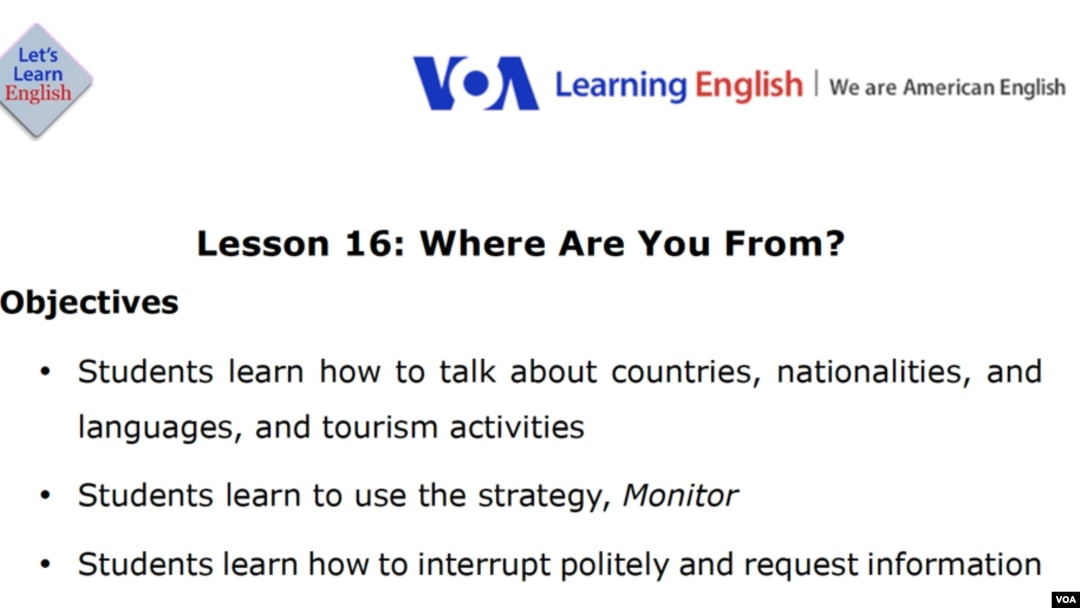 Lesson 16: Where Are You From?