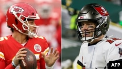 Patrick Mahomes, left, and Tom Brady, right, are two of the most important players in Sunday's Super Bowl. (Photos by Jamie Squire and Stacy Revere / GETTY IMAGES NORTH AMERICA / AFP)