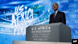 "President Barack Obama speaks at the U.S.-Africa Business Forum at The Plaza Hotel in New York, Sept. 21, 2016. Addressing forum participants, Obama said Africa is ""home to some of the fastest-growing economies in the world."""