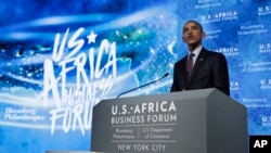 Rais Obama akizungumza kwenye mkutano wa biashara kati ya Marekani na Afrika huko New York, Sept. 21, 2016.